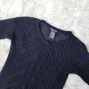 Chelsea & Theodore Open Knit Sweater in Black
